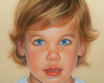 Custom Child Portrait Commisson Pastel Painting 11x14""