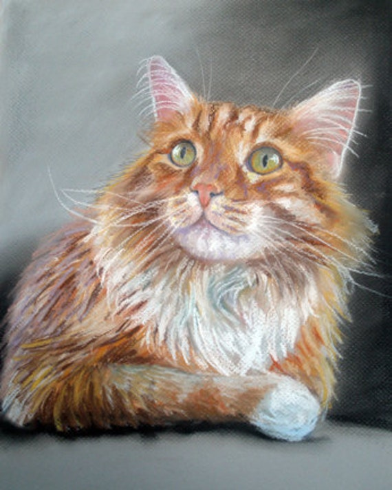 "9x12"" Custom Cat Pet Portraits Pastel Painting Great Gift for Pet Lovers"
