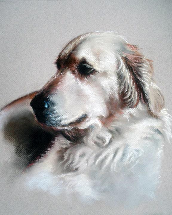 Custom Dog Portrait Painting Pet Pastel Art 11x14 Summer
