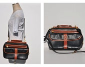 1980s vintage leather purse bag CROSS BODY shoulder bag purse saddle bag.