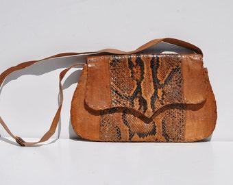 hand made vintage leather snakeskin purse bag snake skin