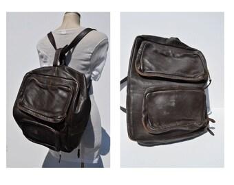 vintage leather backpack HUGE vintage brown LEATHER BACKPACK tote rucksack back pack ruck sack