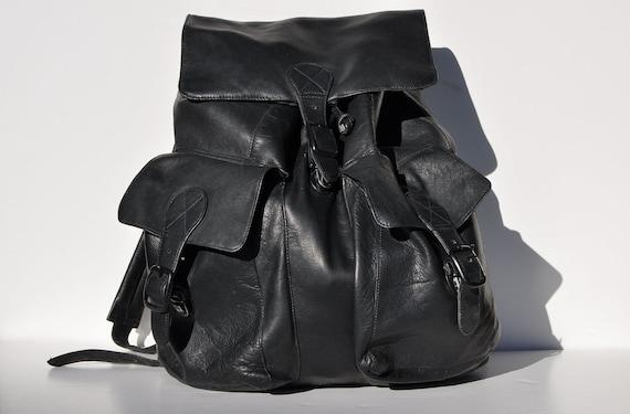 LARGE vintage black LEATHER BACKPACK tote rucksack back pack
