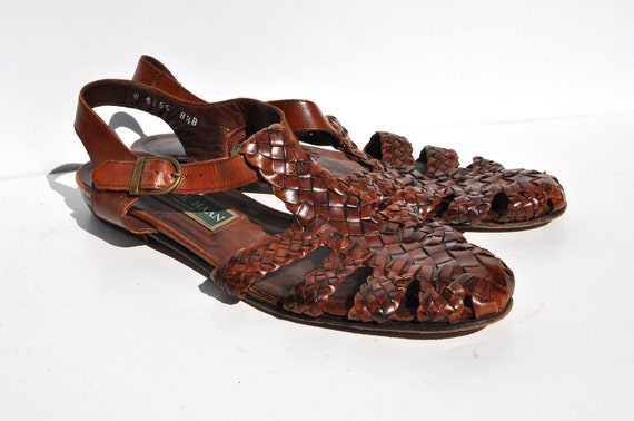 GLADIATOR vintage woven leather SANDALS flats womens shoes 8.5 B