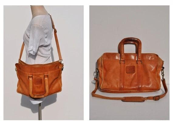 vintage leather messenger bag LEATHER BAG saddle bag geoffrey beene
