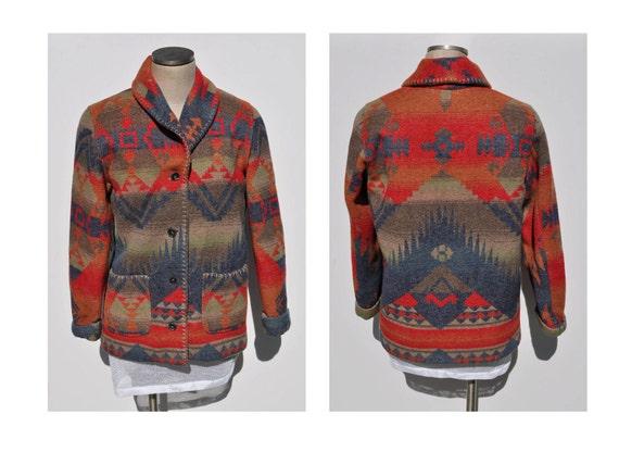 SOUTHWESTERN vintage NAVAJO sweater jacket coat ITALY womens small