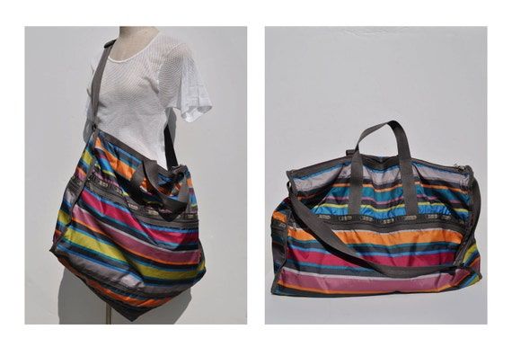 HUGE vintage le SPORTSAC carry on tote shoulder luggage bag overnight DUFFLE le sport sac lesportsac duffel