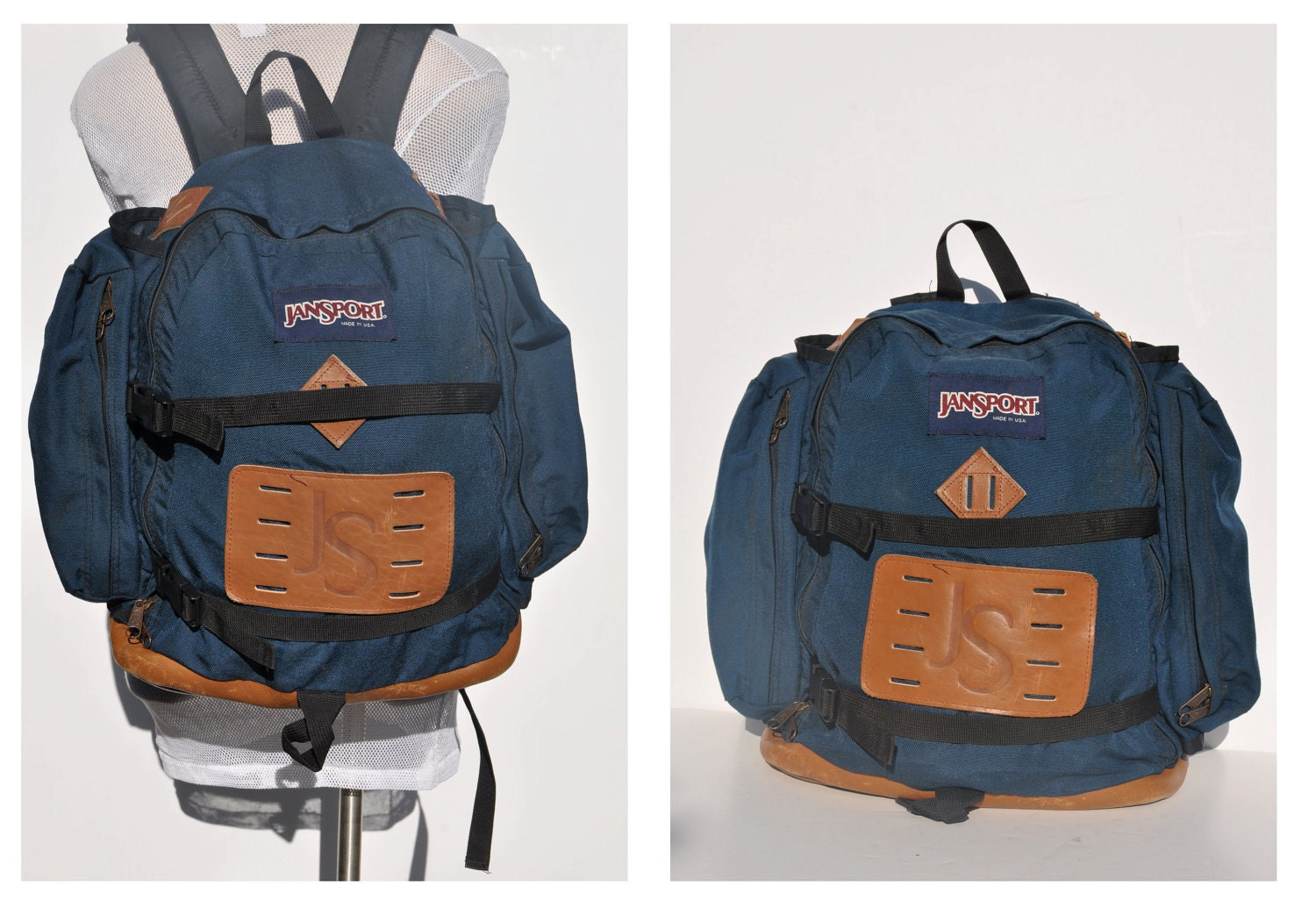vintage BACKPACK with leather bottom JANSPORT indie daypack