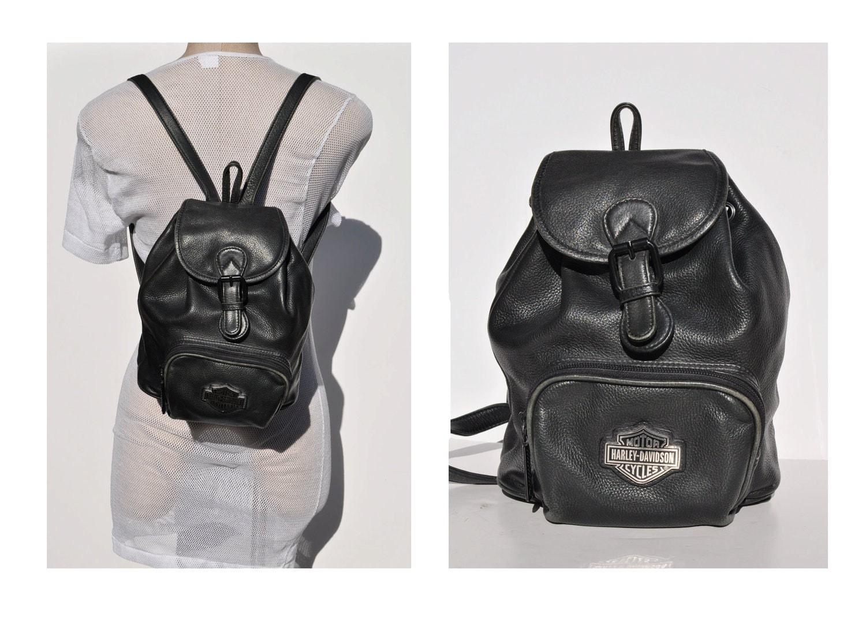 harley davidson vintage leather backpack tote rucksack back. Black Bedroom Furniture Sets. Home Design Ideas