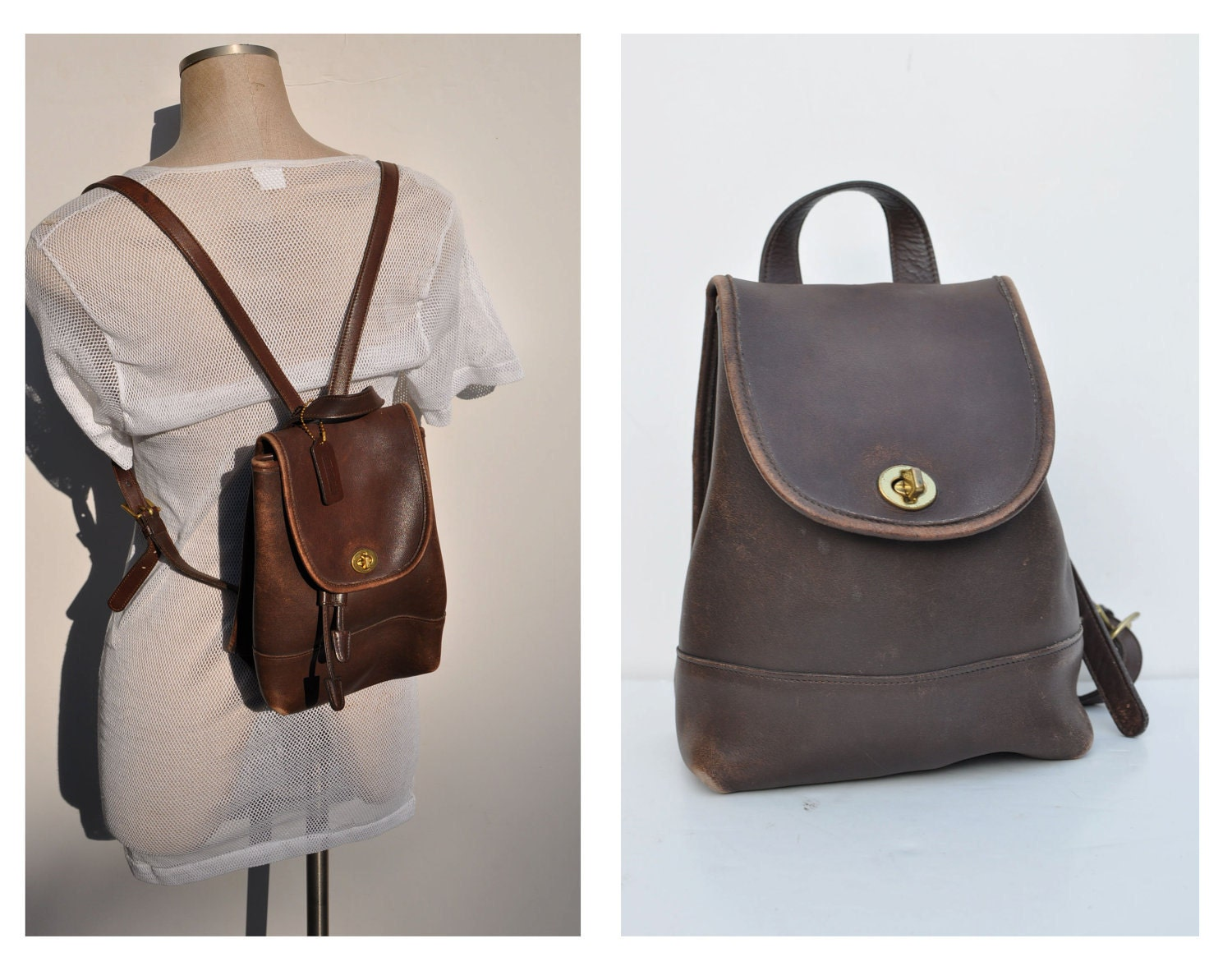 Back Purse : COACH vintage leather backpack purse back pack ruck by anniehaul