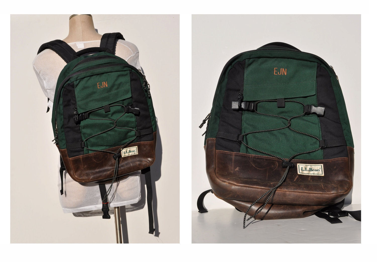 vintage BACKPACK with leather bottom LL BEAN indie daypack day