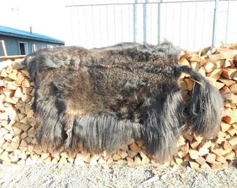 Super Long Haired Black Yak Flatskin - SUPER Long Haired Natural Hide - Soft tanned - SALE ITEM