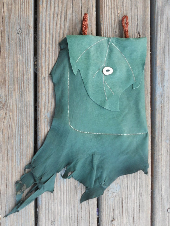 Green Buckskin Leather Drop Belt Pouch with Deer Antler Closure and natural fringe - E