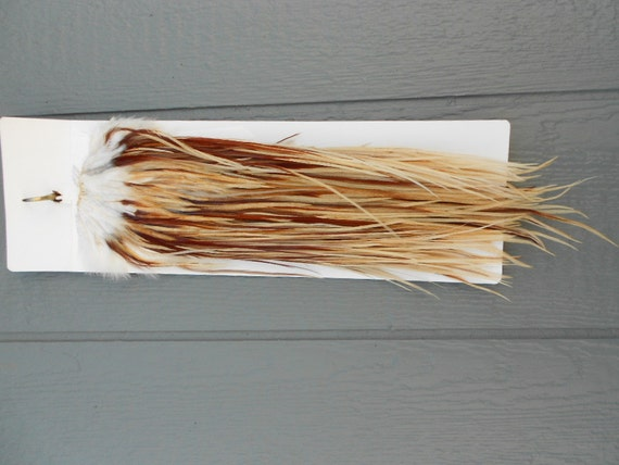 """12 Long Wildfire Red and Gold Rooster Hackle Feathers (8-12"""" plus) For Hair Extensions and crafts Lot PARIS"""