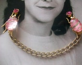 Fabulous Pink Rhinestone And Pink Glass Bug Sweater Guard Clip, Collar Clips, Mad Men, Glee, Breast Cancer Awareness