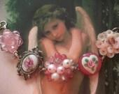 My Funny Valentine Reclaimed  Vintage Pink Cluster Earring Assemblage Bracelet, Statement Bracelet, Wedding Bridal Bridesmaid Gift