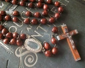 Beautiful Vintage Brown Beaded Rosary Crucifix With Lourdes Water