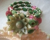Pretty In Pink And Lime Day of the Dead Bracelet Sugar Skull Wrap Around 3 Loops Memory Wire Dia De los Muertos Vintage Beads