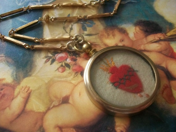 Layaway for Jennifer- French Nun's Work Pendant Of The Sacred Heart  Assemblage Necklace, Valentine's Day Gift