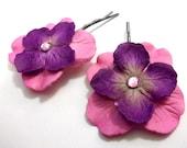 Purple & Pink Paper Flower Hairpins