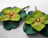 Green & Teal Paper Flower Hairpins
