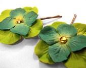 Teal & Green Paper Flower Hairpins