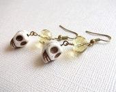 Amber Crystal Skull Dangle Earrings