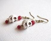 Red Bead Skull Dangle Earrings