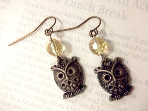 Amber Crystal & Antique Gold Owl Dangle Earrings