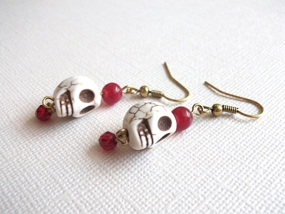 Red Bead Skull Dangle Earrings