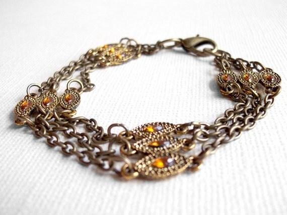 Gold Jeweled Chain Bracelet