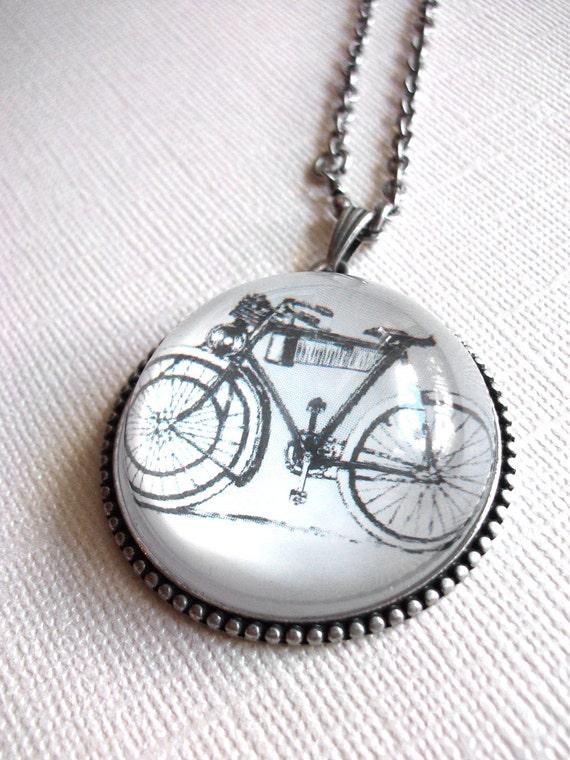 Antique Silver Bicycle Pendant Necklace