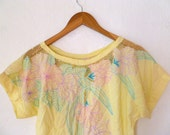 Vintage Floral Blouse Shirt Pastels Mesh Top Perforated Short Sleeve Pale Yellow Pink Blue Green T-Shirt