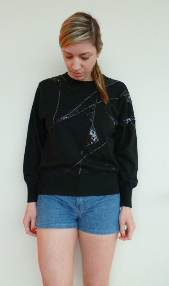 Vintage Sequins Sweater Shirt Black Geometric Patterned Sweaters Long Sleeve Knit Glam