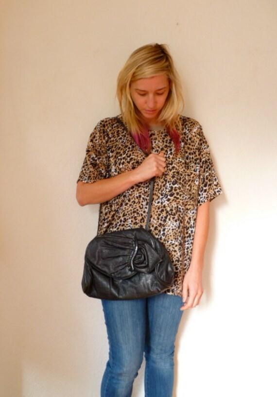 Vintage Leather Purse Clutch Flower Black Shoulder Bag 80s 1980s