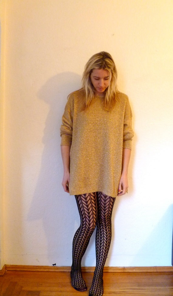 Vintage Gold Sweater Metallic Dress Oversized Long Sleeve Sweaters 1980s 80s Sexy Mini Dress