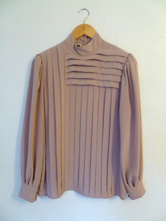 Vintage Blouse Pleated Pastel Rose Long Sleeves Top Shirt Dusty Rose Pleats