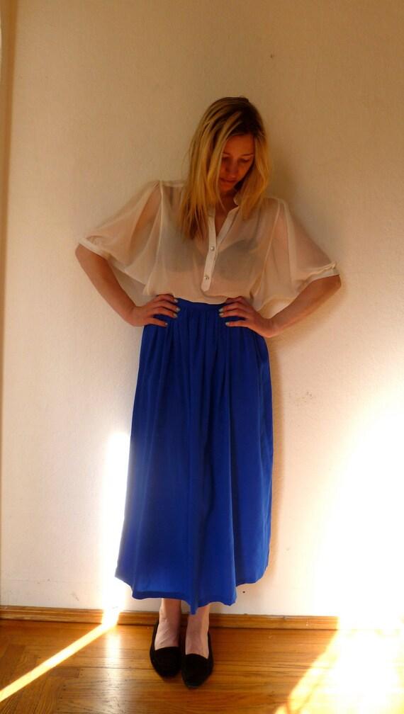 Vintage Blue Midi Skirt Long Full Skirts Bright Bold Gathered Long Flowing Bright Royal Blue Skirts
