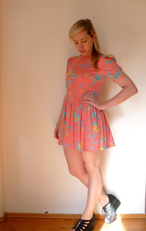Vintage Flower Mini Dress Peach Pink Pastel Floral Pattern Flowers Print Short Gathered Mini Skirt