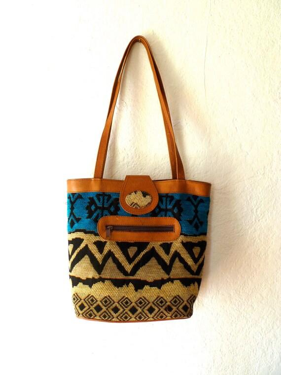 Tribal Print Bag Pattern Vintage Purse Shoulder Bag Summer Beach Pouch Faux Leather