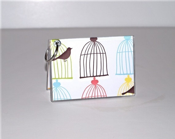 Keychain Mini Wallet - Birds in Cages