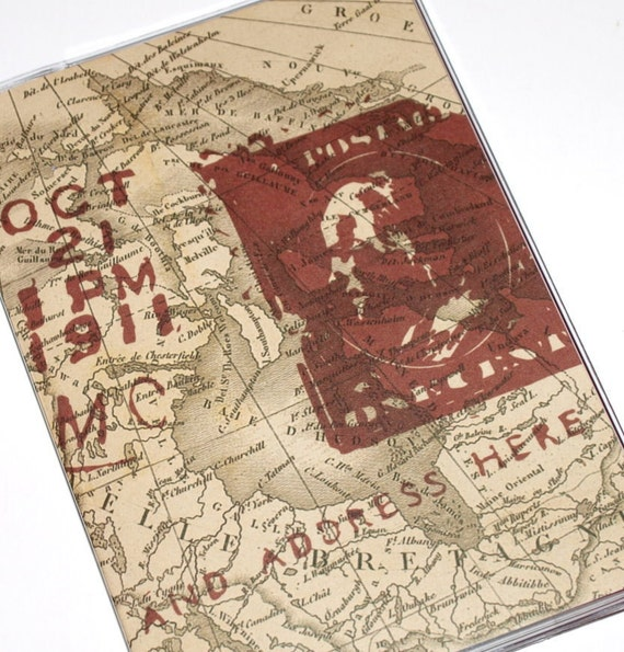 Passport Cover - Stamped Map