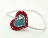 New Felt Heart Headband with pearls , Red with vintage Blue, Infant headband, toddler headband, kids headband, adult headband