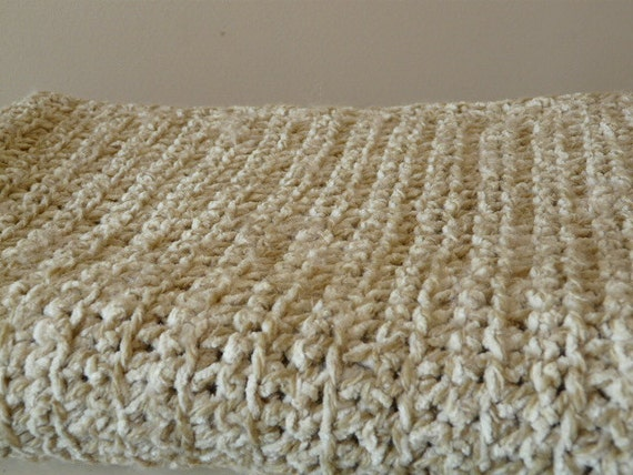 """Neutral Colored Light wool and Chenille Lap Blanket--45 1/2"""" x 35 1/2""""-One of a kind/Ready to Ship"""