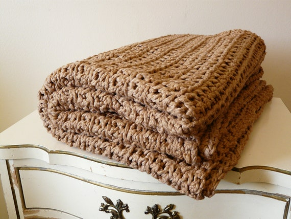 "Pecan Colored Organic Cotton Blanket/Afghan--""68 x 46""-One of a kind/Ready to Ship"