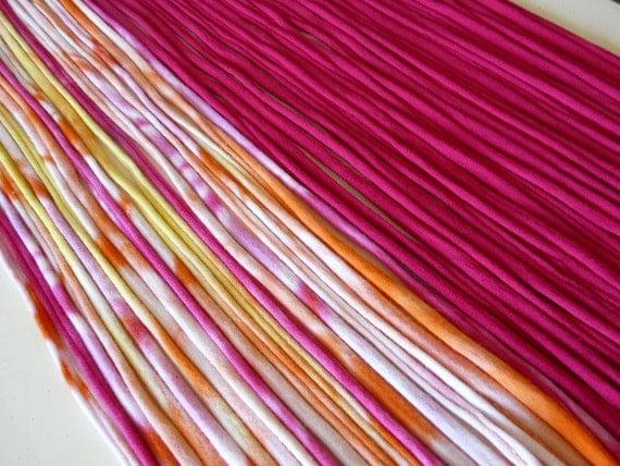 Recycled T shirt Yarn Strips-Mixed pack of Fuchsia and Raspberry Orange Tie Dye- Rt566