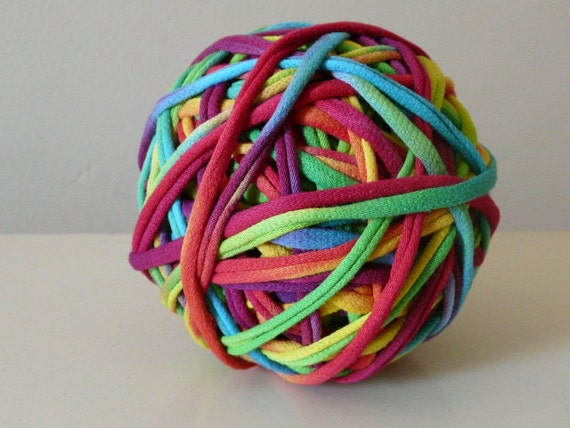 Reserved for Erica--Recycled Tshirt Yarn -Rainbow Tie Dye -  46yds - RT586