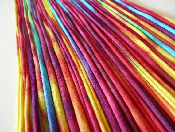 Recycled T shirt Yarn Strips-Rainbow Tie Dye- Rt589