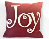 Joy - Appliqued Eco-Felt Pillow Cover in Ruby Red and Antique White - 18 inches
