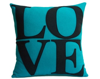LOVE Throw Pillow Cover Appliquéd in Turquoise and Navy Eco-Felt 18 inches